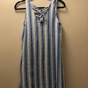 LOFT Dresses - Striped and dotted swing dress